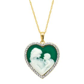 Mother & Child Heart Cameo Pendant with Swarovski Crystals