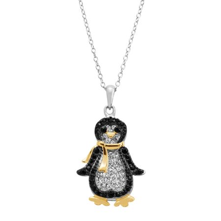 Penguin Pendant with Swarovski Crystals