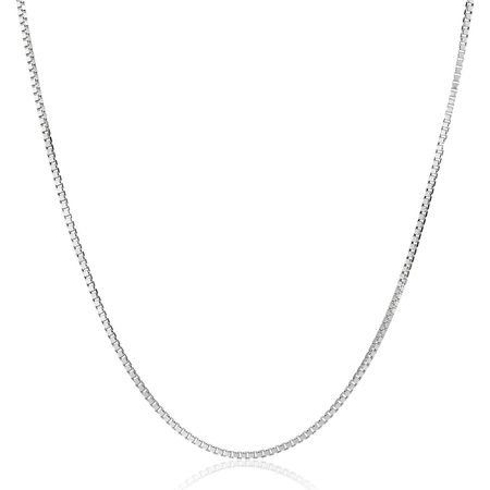 Box Chain Necklace, White, 18