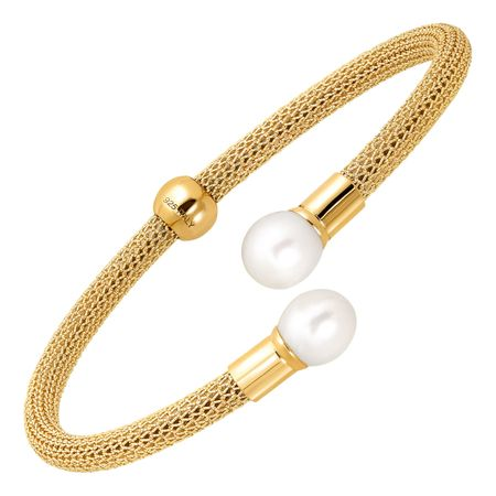 Mesh Cuff Bracelet with Pearls