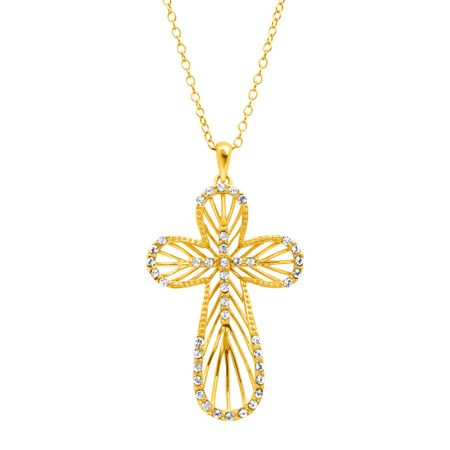 Concave Cross Pendant with Swarovski Crystals
