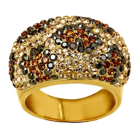 Leopard Dome Ring with Swarovski Crystals