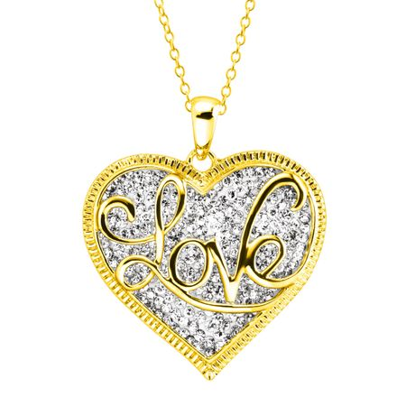 'Love' Script Overlay Pendant with Swarovski Crystals, Yellow