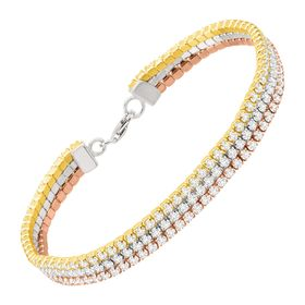 Three-Tone Strand Bracelet with Cubic Zirconia