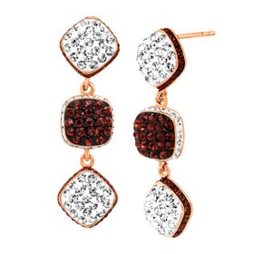 Square Link Drop Earrings with Swarovski Crystals