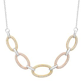 Cable Link Necklace with Cubic Zirconia