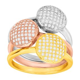Set of Three Three-Tone Stacking Rings with Cubic Zirconia