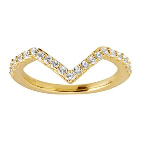 Chevron Ring with White Cubic Zirconia, Golden