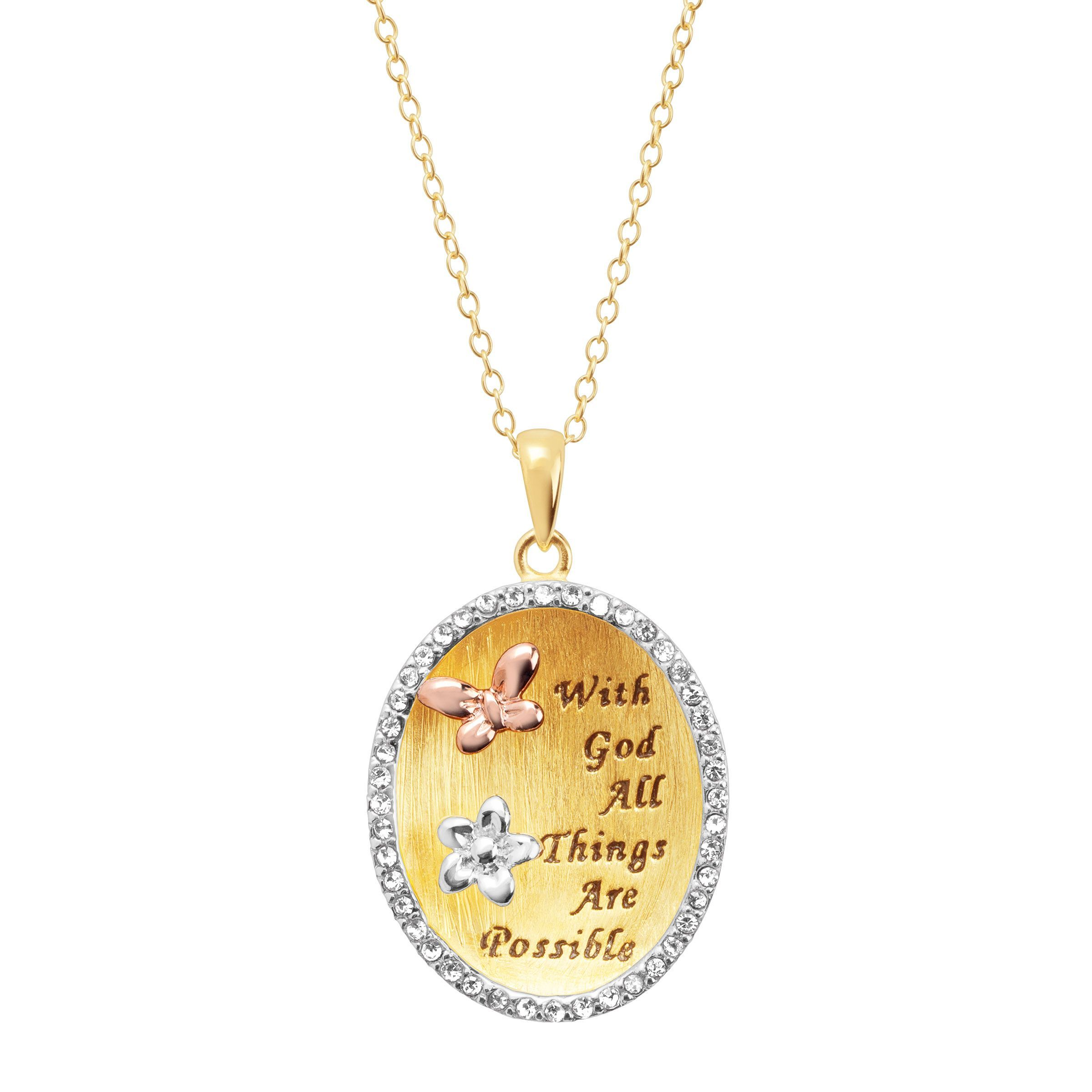 a496eb5bc96a Engraved Oval Pendant with Swarovski Crystals in 18K Gold-Plated Sterling  Silver