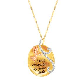 Three-Tone Angel Message Pendant with Swarovski Crystals