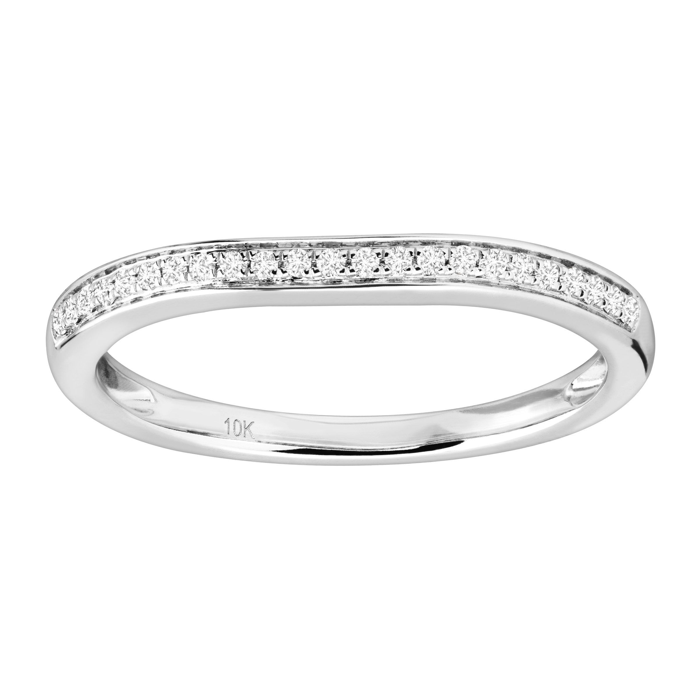 1 10 ct diamond wedding band ring in rhodium plated 10k. Black Bedroom Furniture Sets. Home Design Ideas