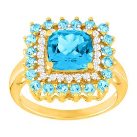 3 3/4 ct Blue Topaz & 1/5 ct Diamond Cushion Ring