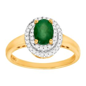 3/4 ct Emerald & 1/6 ct Diamond Halo Ring