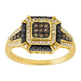 1/2 ct Black, Brown, & White Diamond Cushion Ring
