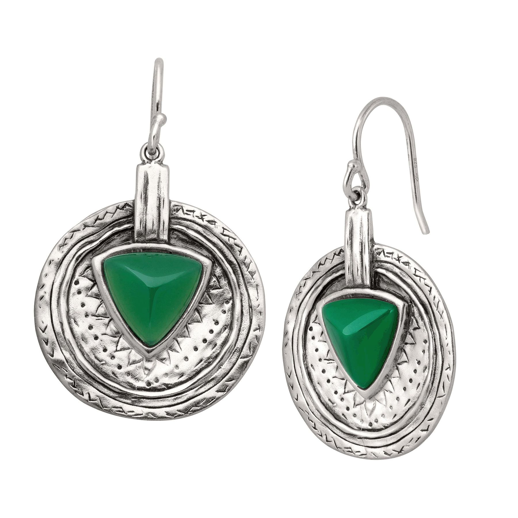 Silpada /'Emerald Isle/' Natural Green Agate Drop Earrings in Sterling Silver