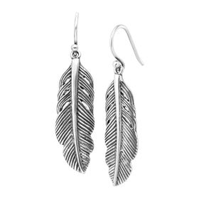 Etched Feather Drop Earrings