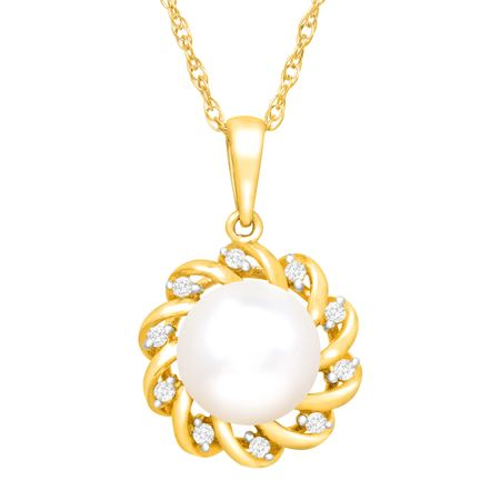 Floral Pearl Pendant with Diamonds