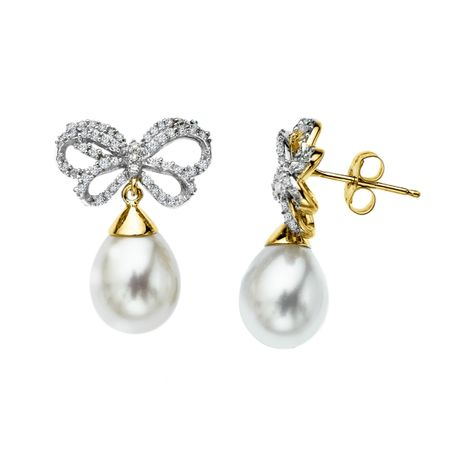10x8 mm Freshwater Pearl and 1 3 ct Diamond Bow Earrings in 14K
