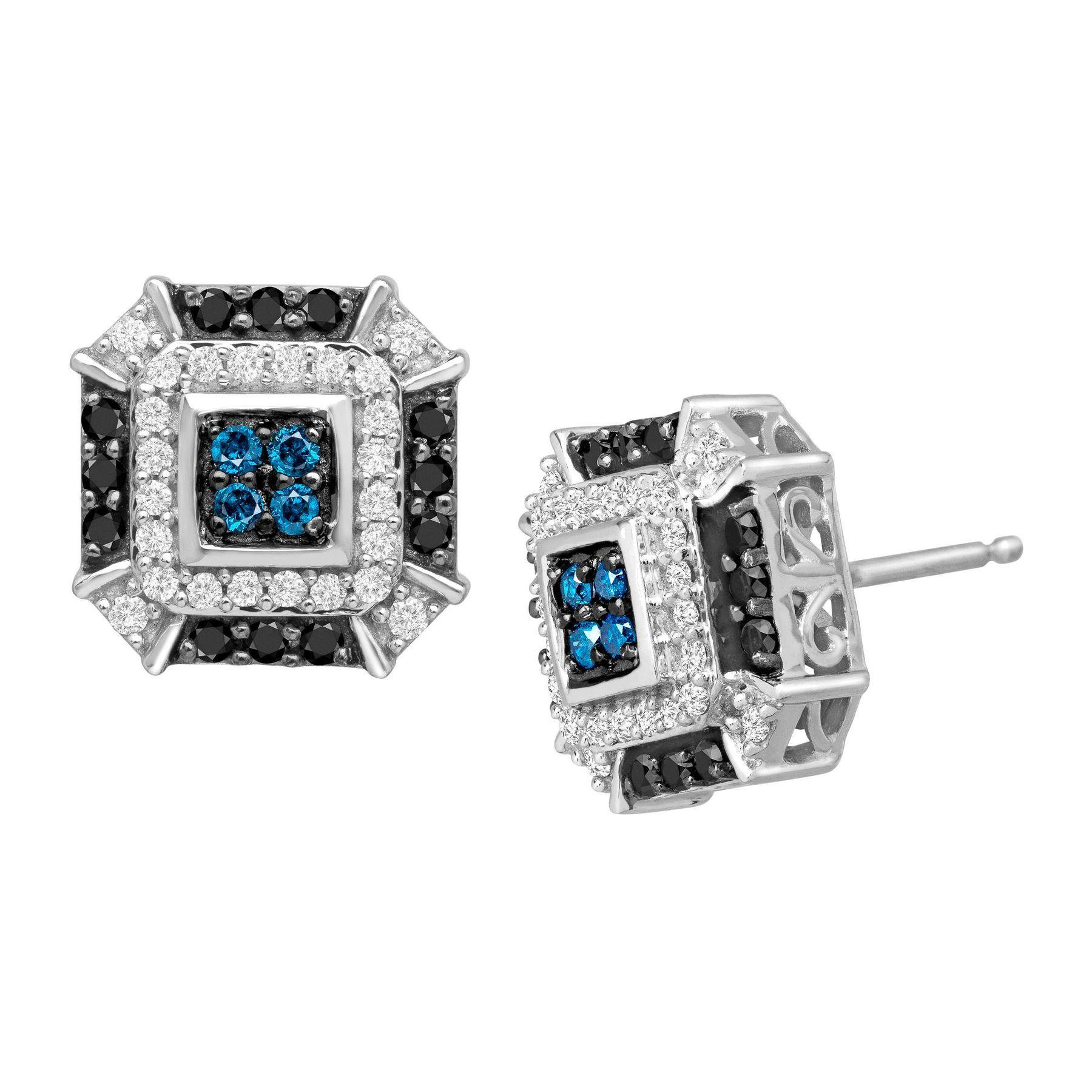 b5b5b41f0 1/2 ct Blue, White & Black Diamond Stud Earrings in 14K White Gold ...