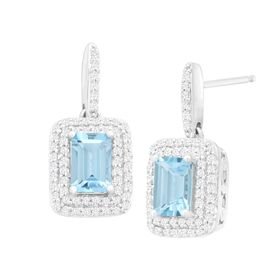 1 1/10 ct Aquamarine & 1/3 ct Diamond Drop Earrings