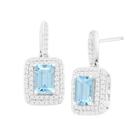 4327ba060 1 1/10 ct Natural Aquamarine & 1/3 ct Diamond Drop Earrings in 14K ...