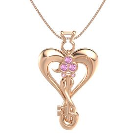 14K Rose Gold Pendant with Pink Sapphire and Pink Tourmaline
