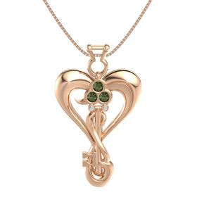 14K Rose Gold Pendant with Green Tourmaline and Diamond