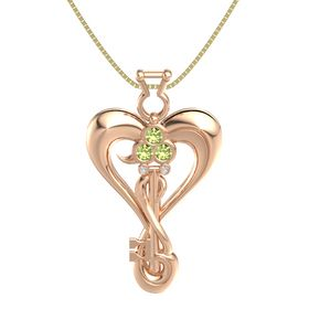 14K Rose Gold Pendant with Peridot and White Sapphire