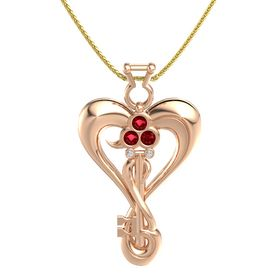 14K Rose Gold Pendant with Ruby and Diamond
