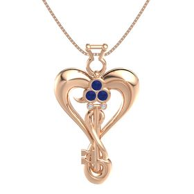 14K Rose Gold Pendant with Blue Sapphire and Diamond
