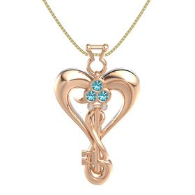 14K Rose Gold Pendant with London Blue Topaz and Diamond