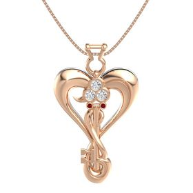 14K Rose Gold Pendant with White Sapphire and Ruby