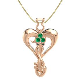 14K Rose Gold Pendant with Emerald and Black Diamond