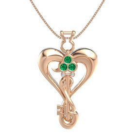 14K Rose Gold Pendant with Emerald and Diamond