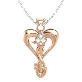 14K Rose Gold Pendant with Aquamarine and Pink Sapphire