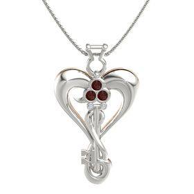 14K White Gold Necklace with Red Garnet & Diamond