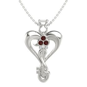 14K White Gold Pendant with Red Garnet and Diamond