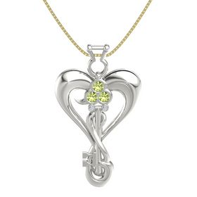 14K White Gold Pendant with Peridot and Diamond