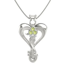 14K White Gold Necklace with Peridot & Diamond
