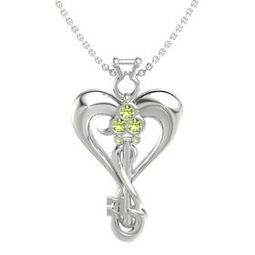 14K White Gold Pendant with Peridot