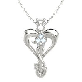 14K White Gold Pendant with Aquamarine and Diamond