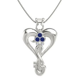 14K White Gold Necklace with Sapphire & Diamond
