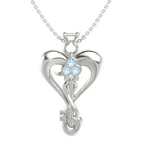 14K White Gold Pendant with Blue Topaz and Diamond