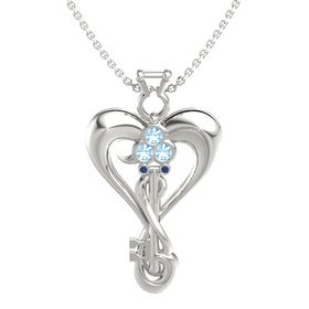14K White Gold Pendant with Blue Topaz and Blue Sapphire