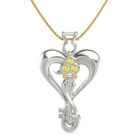 14K White Gold Pendant with Yellow Sapphire and Citrine