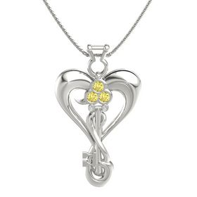 14K White Gold Necklace with Yellow Sapphire & White Sapphire