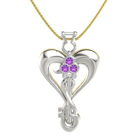 14K White Gold Pendant with Amethyst and Diamond