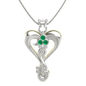 14K White Gold Pendant with Emerald and Diamond