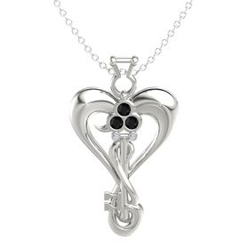 14K White Gold Pendant with Black Onyx and Diamond