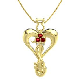14K Yellow Gold Pendant with Ruby and Diamond